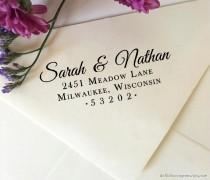 wedding photo - Return Address Stamp, Self Inking Return Address Stamp, Custom Wedding Stamp, Wooden Stamp, Eco Rubber Stamp, Personalized Wedding Stamp
