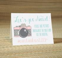 wedding photo - Lets Get Social Hashtag Social Media Place Cards -Wedding Calligraphy for Place Card, Escort Card, Name Card, Table Card