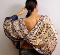 wedding photo - Pashmina Shawl, Wedding Shawl, Wedding Stole, Wool Pashmina Scarf, Silk Shawl, Purple Gold Pashmina Wrap, Silk Embroidered Beaded Shawl