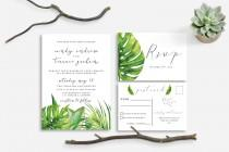 wedding photo - Printable wedding invitation tropical nature leaves green, Tropical wedding invitation, tropical Leaves Postcard RSVP, The Aura collection