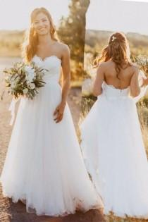 wedding photo - Sweetheart Floor-Length White Wedding Dress With Lace WD059