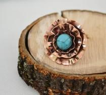 wedding photo - Flower Ring Copper Howlit turquoise Boho Ring Unique Ring Statement Ring Copper Sheet Embossed Not Heavy Blue Universal Rings Big Large
