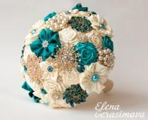 wedding photo - Brooch Bouquet. Ivory Turquoise Fabric Bouquet, Unique Wedding Bridal Bouquet