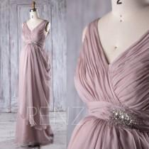 wedding photo - 2017 Rose Gray Bridesmaid Dress Maternity, Ruched Draped Chiffon Wedding Dress, V Neck Prom Dress Long, Formal Dress Floor Length (LM256)