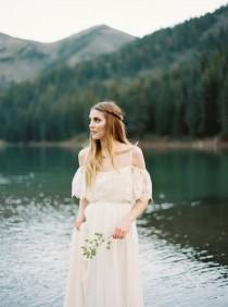 "wedding photo - Janay Marie - ""Stevie"" Gown - boho, off-the-shoulder chiffon wedding dress"