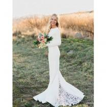 "wedding photo - Janay Marie - ""Brittany"" Gown - Long Sleeved Knit Wedding Dress with Lace Godet Train"