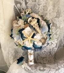 wedding photo - Beach Wedding Bouquet Beach Wedding Flowers Blue/White Beach Flower Bouquet-Beach Flowers-Flowers&Seashell Wedding Bouquet-Beach Bride