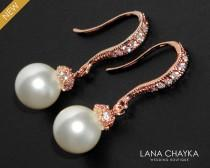 wedding photo - White Pearl Rose Gold Bridal Earrings Swarovski 8mm Pearl CZ Earrings Bridal Pearl Drop Earrings Wedding Rose Gold Small Earrings Bridesmaid - $24.90 USD