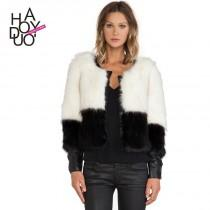 wedding photo - Simple black and white color fur PU leather t button sleeve placket stitching fur coat - Bonny YZOZO Boutique Store