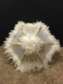 wedding photo - Second line Umbrella Bride, Wedding Parasol, New Orleans Destination  BLING Second line parade, Monogram Initials Parasol