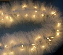 wedding photo - Ivory TULLE netting on mini string LIGHTS SWAG garland