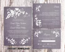 wedding photo - Lace Wedding Invitation Template Download Printable Invitations Boho Invitation Rustic Invitations Vintage Floral Blue Invitations DIY - $18.90 USD