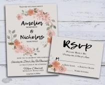 wedding photo - Rustic Wedding Invite, Floral Wedding Invitation, Bohemian Wedding, Watercolor Wedding invitation Printable, Boho Wreath - $39.00 USD