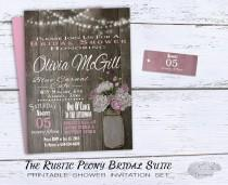 wedding photo - Rustic Bridal Shower Invitation, Rustic Wedding Shower Invitations Pink Peonies
