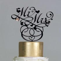 wedding photo - Wedding Cake Topper - Mr & Mrs Cake Topper - Black Elegant Wedding Cake Sign - Calligraphy - Mr and Mrs