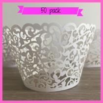 wedding photo - 50 Lace Cupcake Holders - Laser Cut -  Wedding Cupcake Holders - Filigree Cupcake Holders Baby Shower Cupcake Wrapper White Cupcake Holders