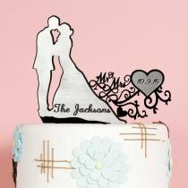 wedding photo - Wedding Cake Topper - Custom Cake Topper - Silhouette - Fancy Black Topper - Personalized Cake Decor