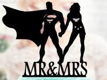 wedding photo - Superman and Wonder woman Silhouette, Mr and Mrs Wedding Cake Topper, Bride and Groom Wedding Cake Topper, Cake Toppers superheroes