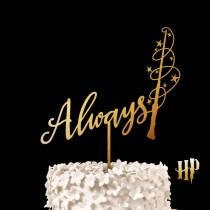 wedding photo - Always Harry Potter Wedding Cake Toppers - After All this Time? Always Wedding, Magic Wand Wedding Cake Topper