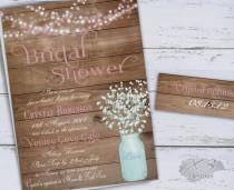 wedding photo - Mason Jar Wedding Shower Invitation, Rustic Bridal Shower Invitation Printable, Country Wedding Shower Invite