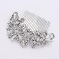 wedding photo - Rhinestone Bridal Comb - Bride Hair Accessories - Wedding Hair Comb - Crystal Silver Comb - Vintage style Hair Comb - Bridal Head Piece