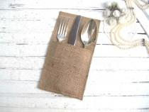 wedding photo - Rustic Wedding Silverware Holders Set of 10 Burlap Wedding Flatware Holder Rustic Cutlery Holder Wedding Table Setting Country Table Decor - $10.20 USD