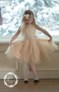 wedding photo - Champagne Lace Flower girl dress, White Tulle flower girl dresses,rustic flower girl dress,infant Toddler Girl dresses, flower girl dresses.