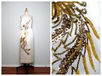 wedding photo - Oriental Sequin Wedding Dress / Mandarin Dragon Beaded Dress / Gold Phoenix Sequined Ivory Satin Gown
