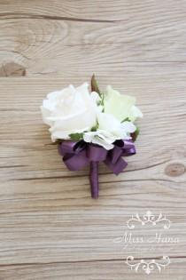 wedding photo - Ivory White Rose Wrist Corsage, Purple ribbon wrist corsage, Bridesmaid corsage, pearl corsage, green corsage, Green white boutonnieres