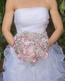 "wedding photo - Ready to Ship! Pink and Silver Brooch Bouquet - Large (10"" wide) - Broach Bouquet - Wedding Bouquet - Bridal Bouquet - Deposit"