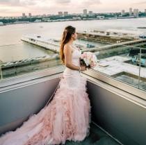wedding photo - Blush Mermaid Wedding Dress