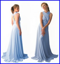 wedding photo - Baby Blue Infinity Dress - floor length in baby blue color wrap dress  +55 colors