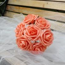 "wedding photo - 100 Coral Wedding Centerpieces Flowers Artificial Foam Roses Diameter 3"" For Bridal Bouquet Wedding Decoration"