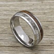 wedding photo - Titanium deer Antler Ring with Koa Wood Inlay, 8mm Comfort Fit Wedding Band