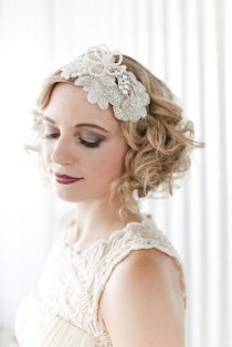 wedding photo - vintage inspired crystal pearl embellished beaded pearl flower bridal cocktail headband headpiece hair accessories tiara