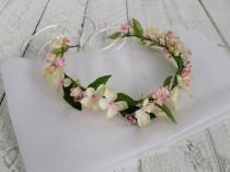 wedding photo - Pale pink floral crown, flower crown, hair flowers wedding, floral headband, flower headband, wedding circlet, flower garland, hair wreath