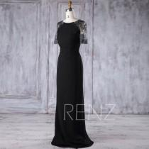 wedding photo - 2017 Black Chiffon Bridesmaid Dress Slim, Lace Short Sleeves Wedding Dress, Long Prom Dress, Women Formal Dress Floor Length (H375)