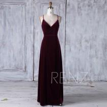 wedding photo - 2017 Wine Velvet Bridesmaid Dress, V Neck Wedding Dress, Spaghetti Straps Prom Dress, Mother of Bride Dress, MOB Dress Full Length (HV413)