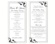 wedding photo - Wedding Program Template DIY Editable Text Word File Instant Download Black Wedding Program Template Printable Wedding Program 4x9.25inch - $8.00 USD