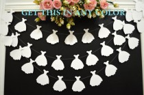 wedding photo - Wedding dress garland, bridal shower decoration, white wedding dress bunting,