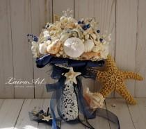 wedding photo - Nautica Wedding Beach Shell Bouquet Starfish Bouquet Beach Wedding Bouquet Seashell Wedding Bouquet Boutonniere - $139.00 USD