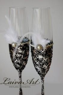 wedding photo - Silver Wedding Champagne Flutes Wedding Champagne Glasses Gatsby Style Wedding Toasting Flutes Silver and Black Wedding - $55.00 USD