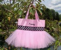 wedding photo - Child's Embroidered Dance Bag - Pink Tote Bag with pink and black polka dot ribbon MINI Tutu Tote Bag - MTB83 - BPT
