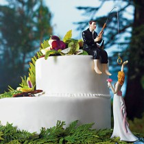wedding photo - Hooked on Love Bride Groom Couple Wedding Cake Topper- Romantic Porcelain Fishing Groom's Fisherman Cake idea Fish loving Sports Couple