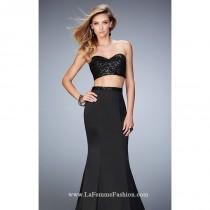 wedding photo - Black Two-Piece Mermaid Gown by Gigi by La Femme - Color Your Classy Wardrobe