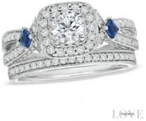 wedding photo - Vera Wang Love Collection 1-1/4 CT. T.W. Diamond and Sapphire Frame Bridal Set in 14K White Gold