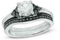 wedding photo - 6.5mm Lab-Created White Sapphire and 1/2 CT. T.W. Enhanced Black Diamond Tri-Sides Bridal Set in Sterling Silver