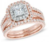 wedding photo - 1-1/2 CT. T.W. Princess-Cut Diamond Double Frame Bridal Set in 14K Two-Tone Gold