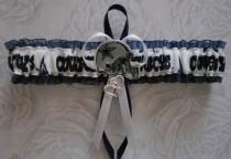 wedding photo - Dallas Cowboys Fabric White And Blue Wedding Garter Toss Prom  Football Double Heart Charms