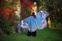 wedding photo - Blue butterfly cape wings costume adult Buckeye butterfly belly dance halloween fantasy